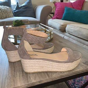 Taupe espadrille sandals